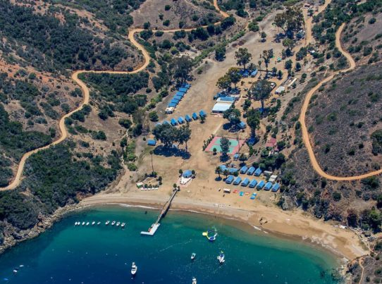 aerial drone shot of Howlands Landing and Catalina Island Camps