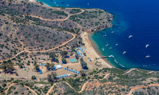 aerial view of Howlands Landing and Catalina Island Camps