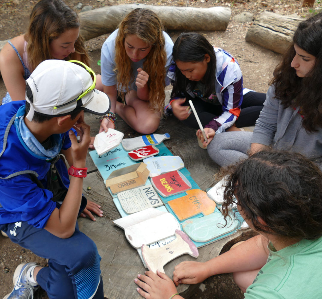 campers working on a project together