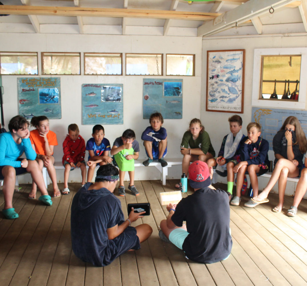 counselors instructing campers in a classroom-like setting